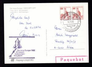 DEUTSCHE SCHIFFSPOST MS Europa Hapag-Lloyd AG KREUZFAHRTEN 10.8.82 + Cachet