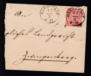 Ziffer 3 Kr. auf Briefstück mit K1 DARMSTADT 12.2.