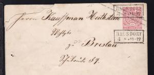 Ziffer 1 Gr. mit R2 HAUSDORF 4.8. nach Breslau, Brief Nagelloch und rauh