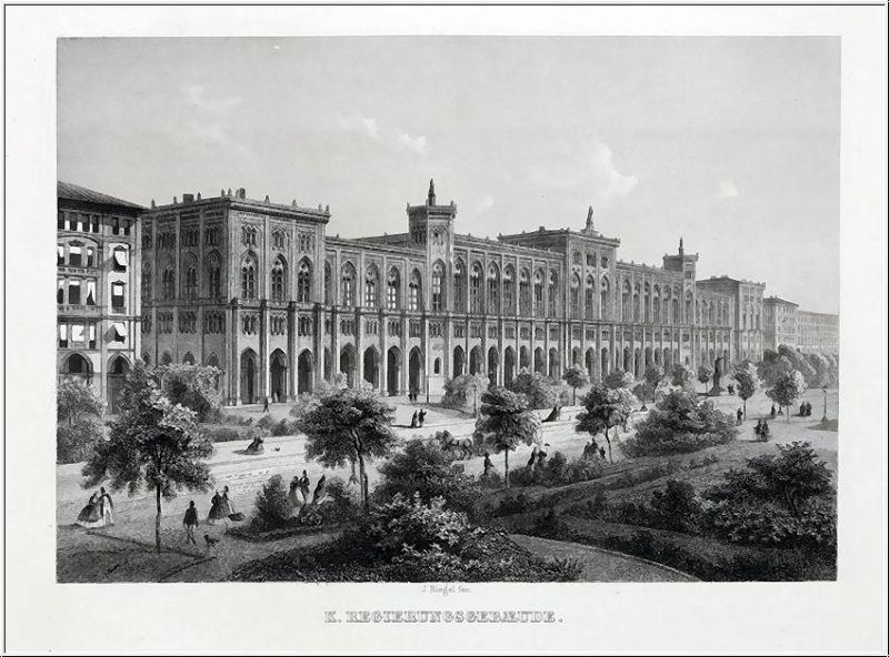 MÜNCHEN - Regierungsgebäude - Stahlstich um 1850