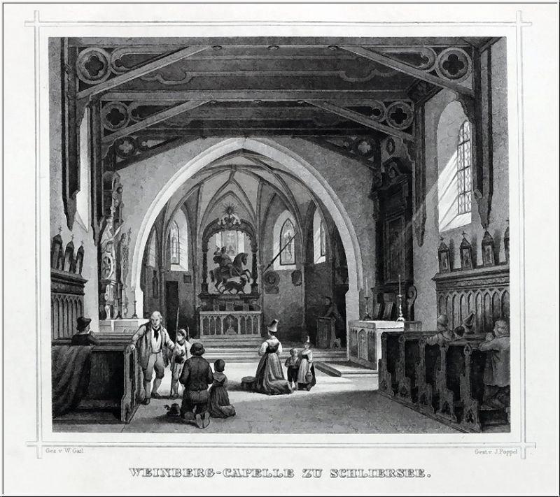 SCHLIERSEE - Weinberg Kapelle - Stahlstich um 1870