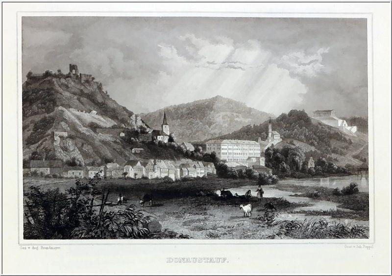 DONAUSTAUFF - Gesamtansicht mit Walhalla - Stahlstich um 1850