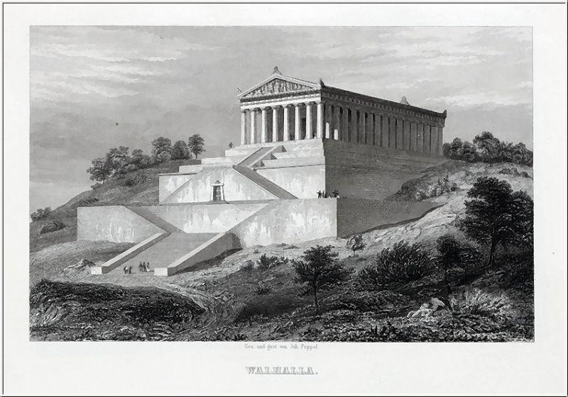 DONAUSTAUFF - Walhalla - Stahlstich um 1850