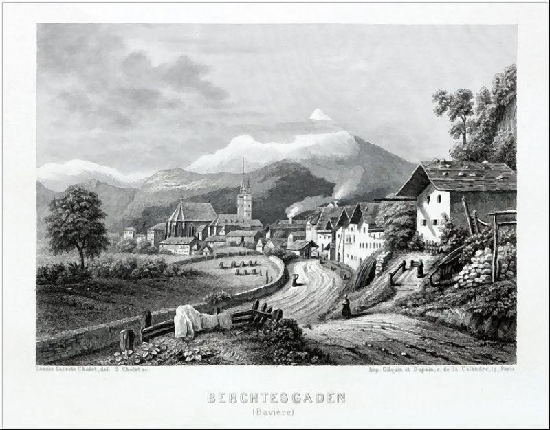 BERCHTESGADEN- Teilansicht. Stahlstich um 1860
