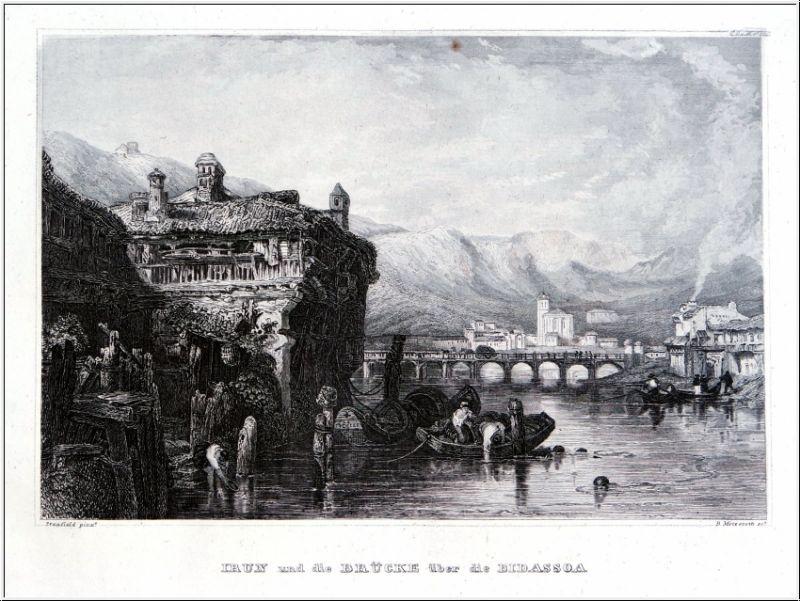 Irun Und Die Brücke Über Die Bidassoa. Stahlstich um 1850