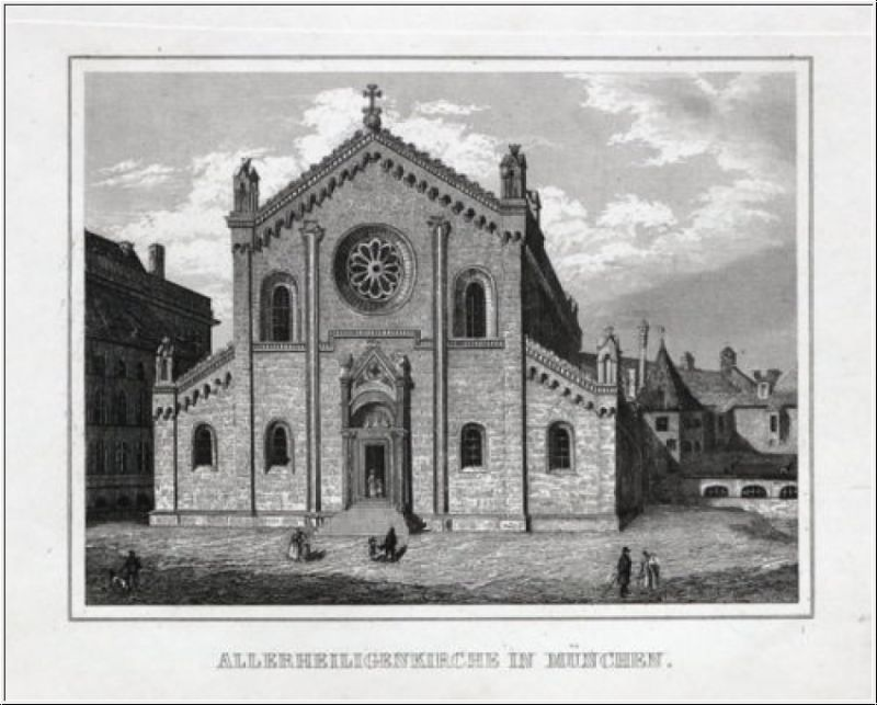 München - Allerheiligenkirche. Originaler Stahlstich um 1840