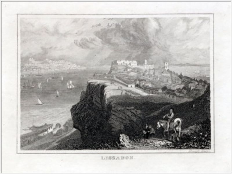 Portugal - Lissabon Originaler Stahlstich um 1840