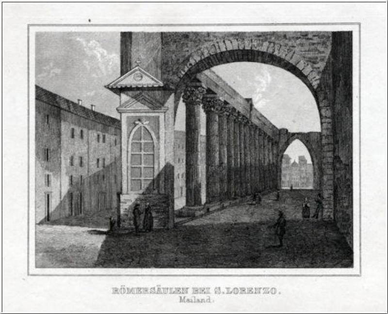 Mailand - Römersäulen bei S. Lorenzo. Originaler Stahlstich um 1840