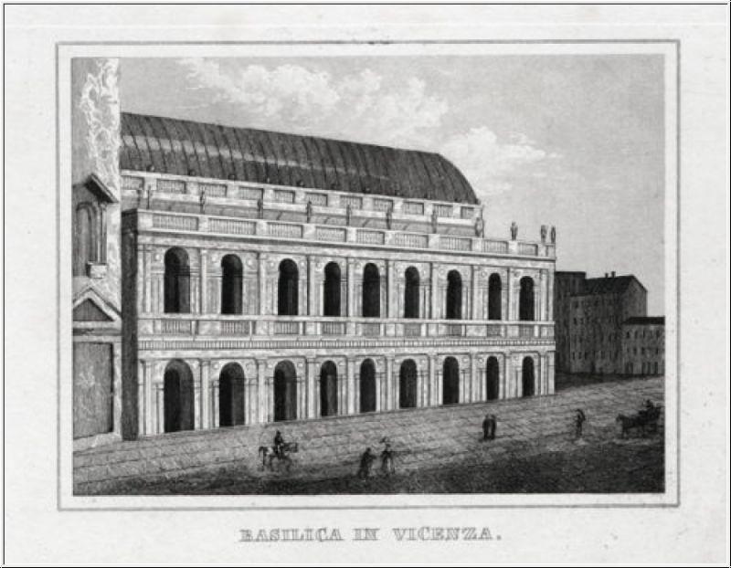 Vicenza - Die Basilika. Originaler Stahlstich um 1840