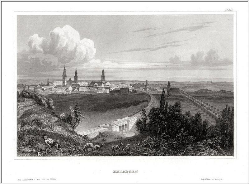 ERLANGEN - Gesamtansicht Echter Stahlstich um 1850