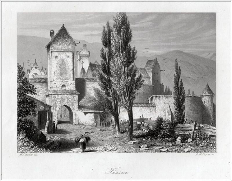 FÜSSEN im Allgäu. Das Stadttor. Stahlstich um 1850