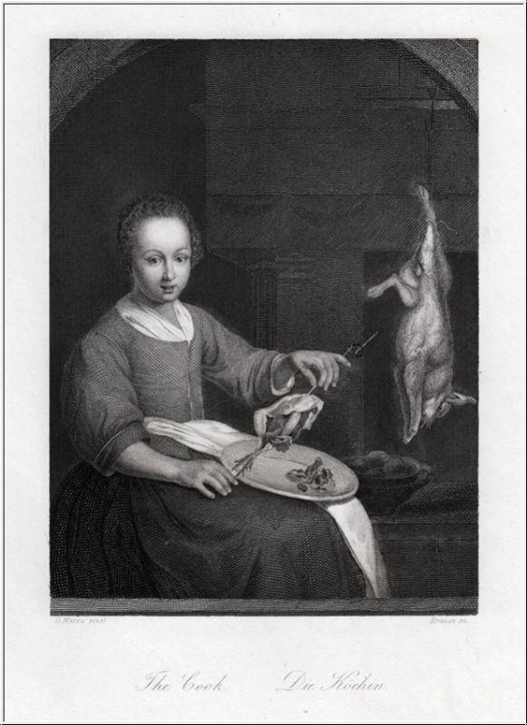 Die Köchin. Stahlstich um 1850