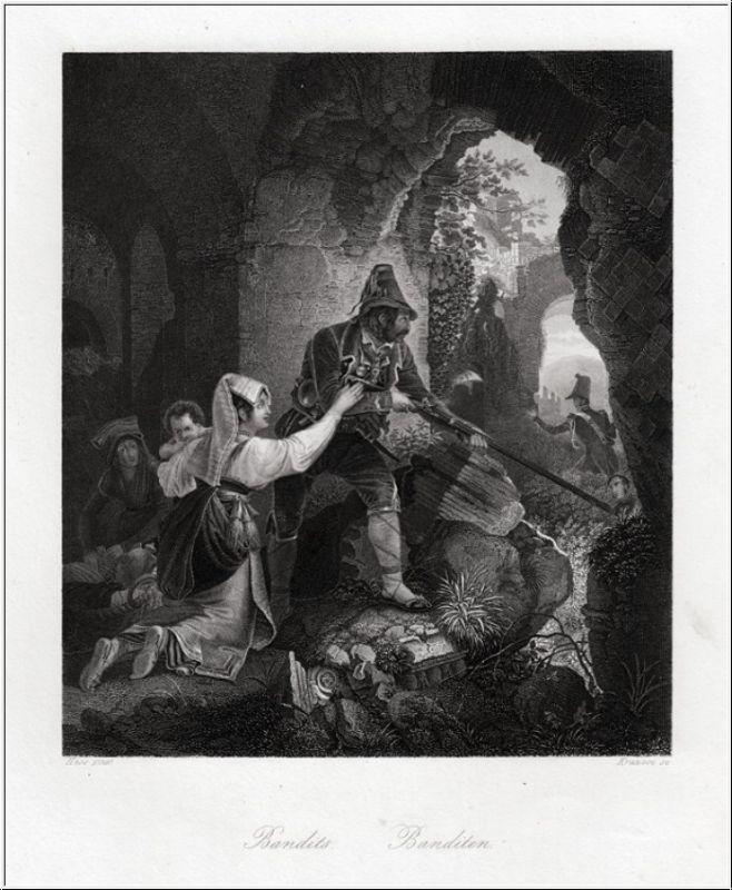 Banditen. Stahlstich um 1850