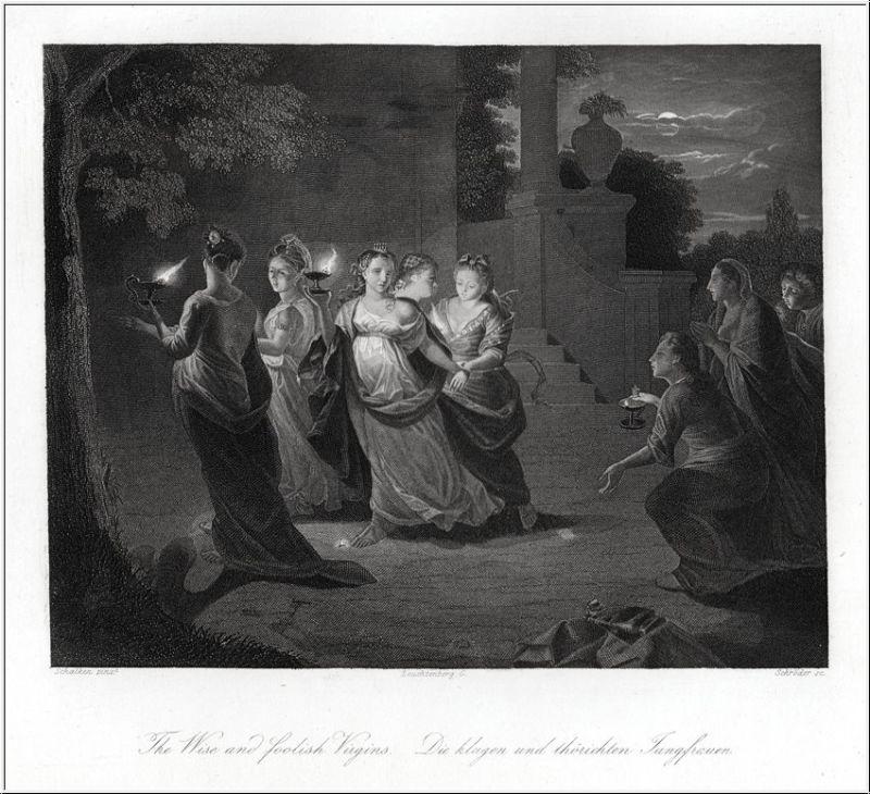 Die klugen und die törichten Jungfrauen. Stahlstich um 1850