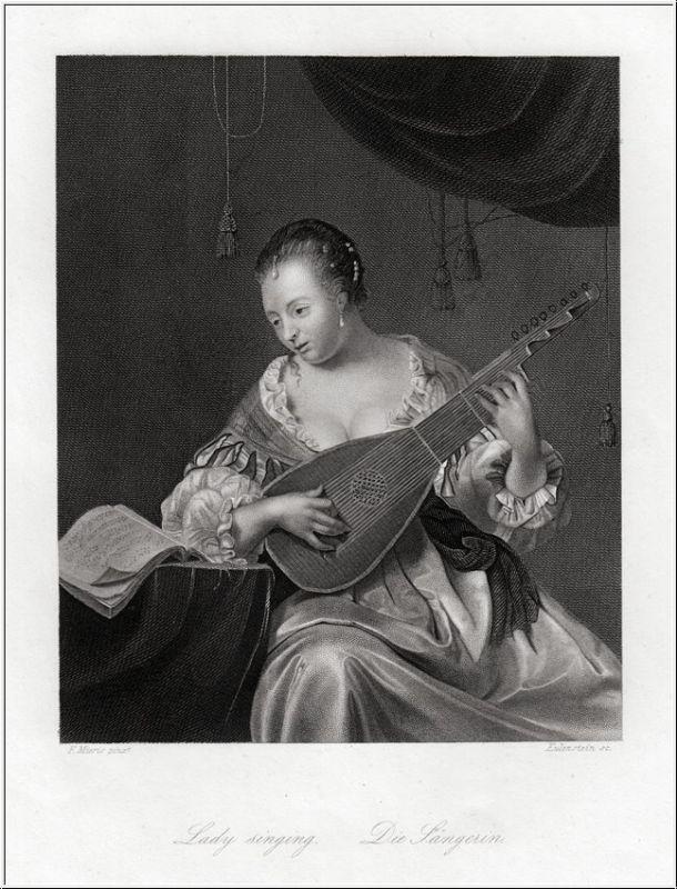 Die Sängerin. Stahlstich um 1850