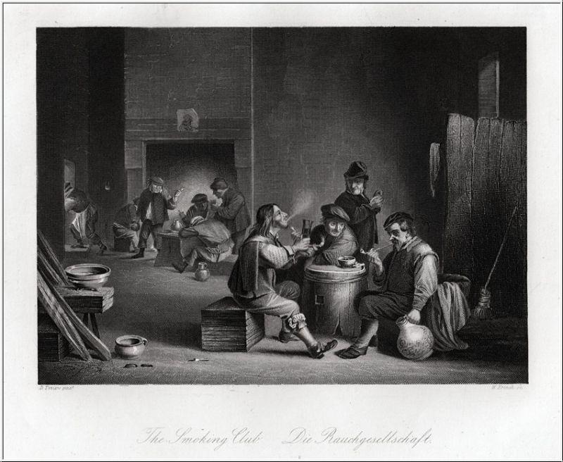 Die Rauchgesellschaft. Stahlstich um 1850