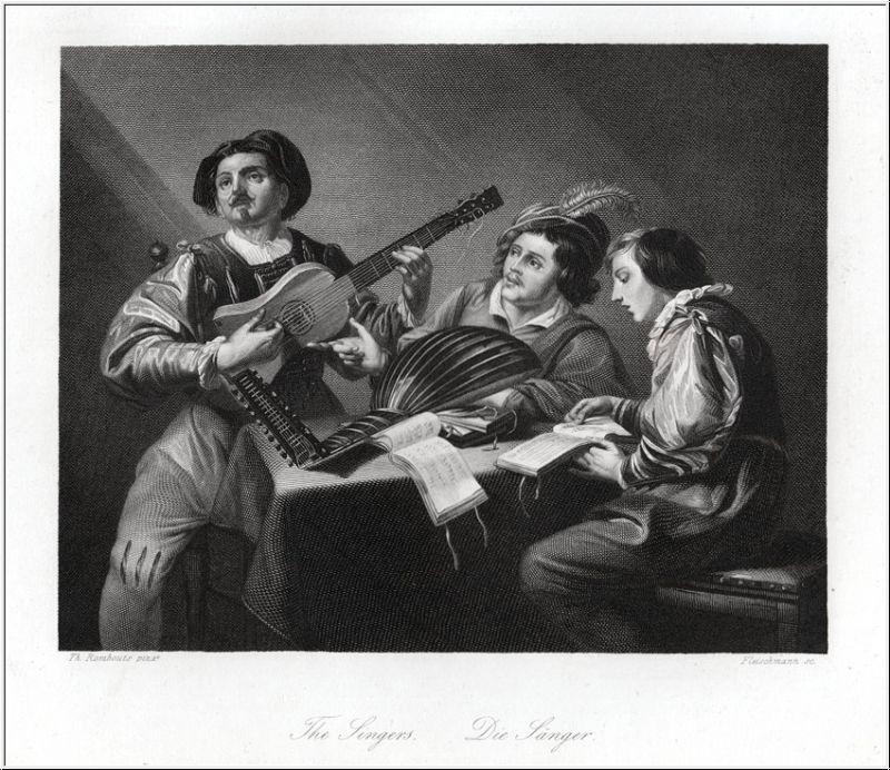 Die Sänger. Stahlstich um 1850