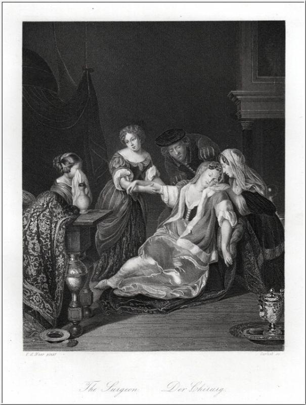 Arzt: Der Chirurg. Stahlstich um 1850