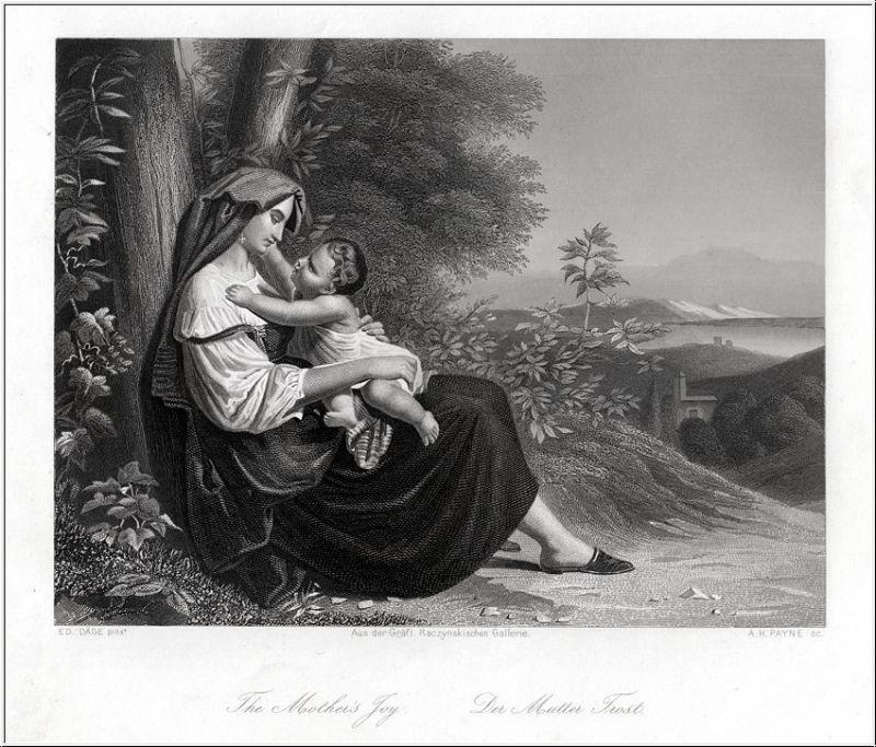Der Mutter Trost. Stahlstich um 1850