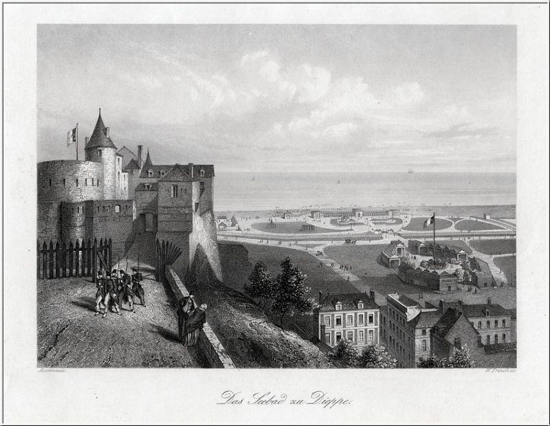 DIEPPE - Normandie: Das Seebad: Stahlstich um. 1850
