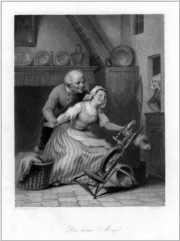 Die neue Magd. Stahlstich um 1850