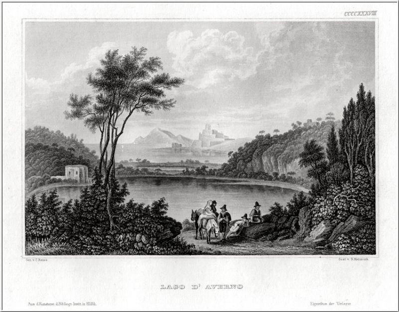 LAGO D'AVERNO. Stahlstich um 1850