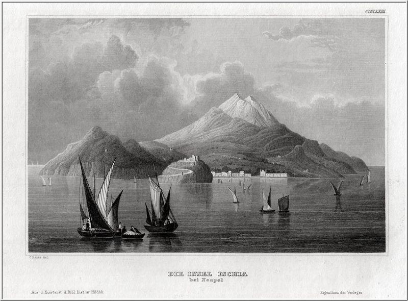 ISCHIA. Blick auf die Inseln. Stahlstich um 1860