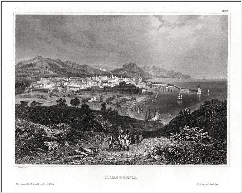 BARCELONA, Gesamtansicht . Stahlstich um 1850