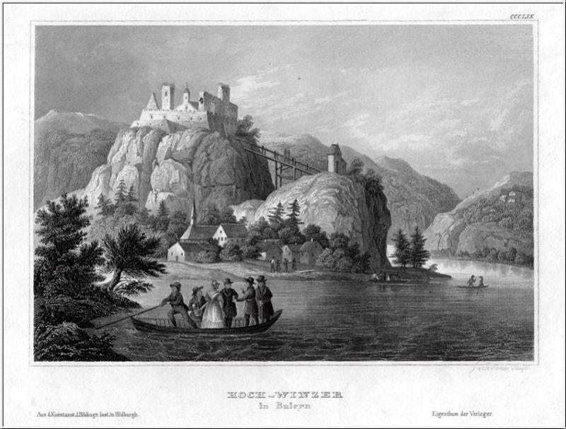 HOCH-WINZER an der Donau. Stahlstich um 1840