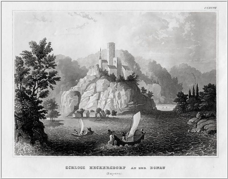 Schloss HECKERSDORF an der Donau. Stahlstich um 1840