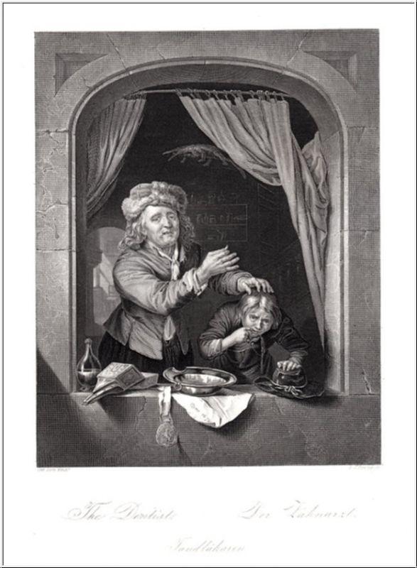 Zahnarzt, Dentist. Echter Stahlstich n. Dow. Erstauflage um 1850