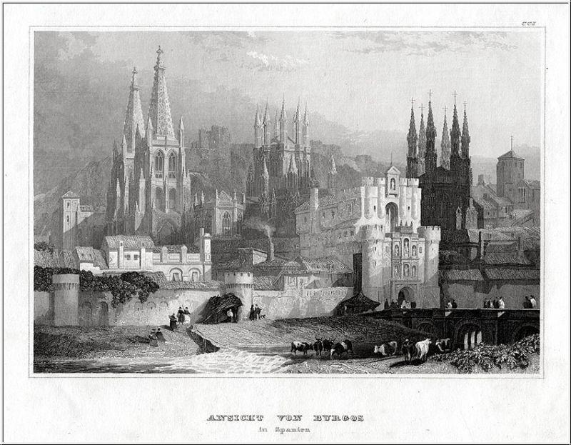 Burgos, Teilansicht . Stahlstich um 1850