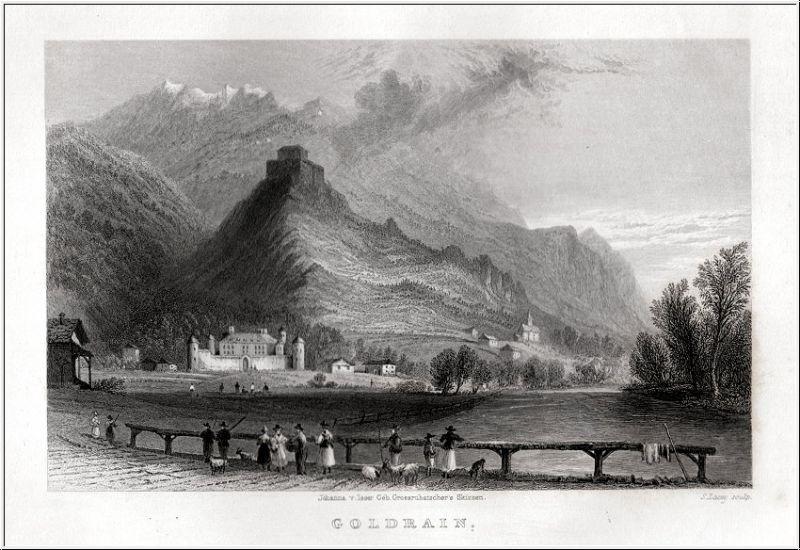 Südtirol - Goldrain - Orig. Stahlstich von Lacey nach Isser 1833