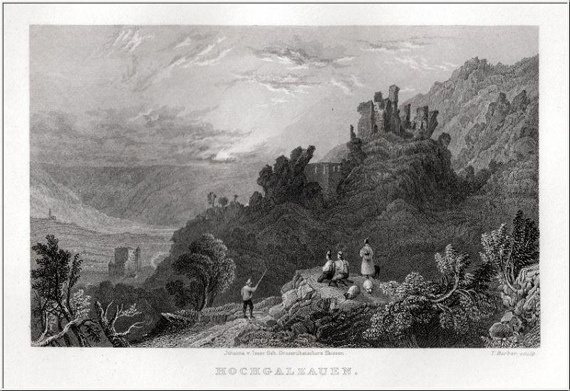Südtirol - Hochgalzauen - Orig. Stahlstich von Barber nach Isser 1833