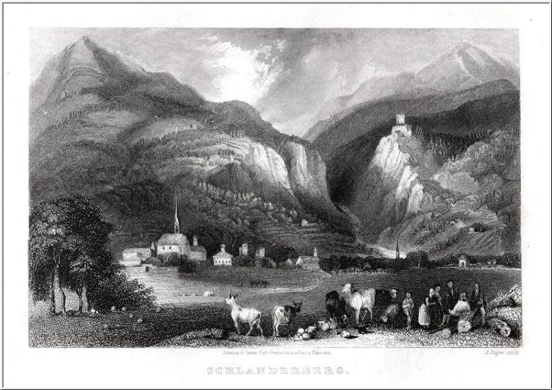 Südtirol - Schlanderberg - Orig. Stahlstich von Payne nach Isser 1833