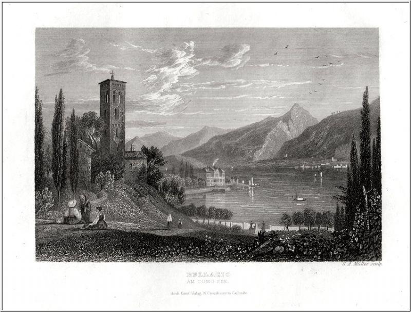 Bellagio-Como See - Orig. Stahlstich von Creuzbauer um 1850