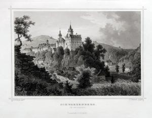 Schwarzenberg im Erzgebirge, Schloß Originaler Stahlstich um 1850