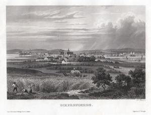 Eckernförde - schöne Gesamtansicht. Echter Stahlstich um 1850