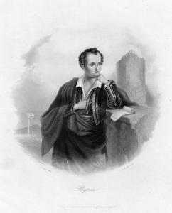 Lord Byron. Echter Stahlstich um 1850