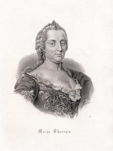 Maria-Theresia, Brustbild. Originaler Stahlstich um 1880