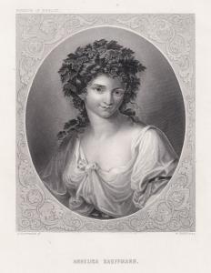 Angelika Kauffmann, Selbstporträt der Malerin im Oval. Originaler Stahlstich um 1850