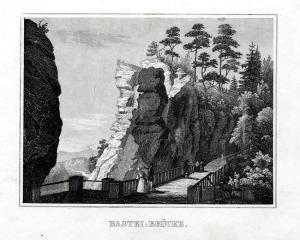 Bastei-Brücke. Originaler Stahlstich um 1840