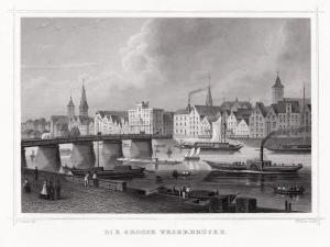 BREMEN: Die Grosse Weserbrücke. Originaler Stahlstich um 1850
