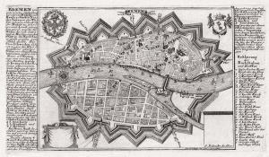 BREMEN. Plan aus der Vogelschau. Originaler Kupferstich um 1720