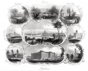 POTSDAM: Souvenierblatt mit 9 Ansichten. Originaler Stahlstich um 1850