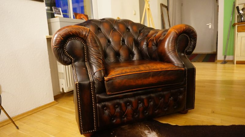 chesterfield sessel vintage ledersessel loungesessel braun. Black Bedroom Furniture Sets. Home Design Ideas