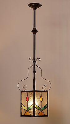 Wunderschöne original Jugendstil Deckenleuchte Flurlampe Bleiverglasung 1900 0