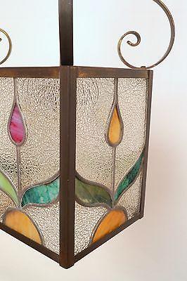 Wunderschöne original Jugendstil Deckenleuchte Flurlampe Bleiverglasung 1900 10
