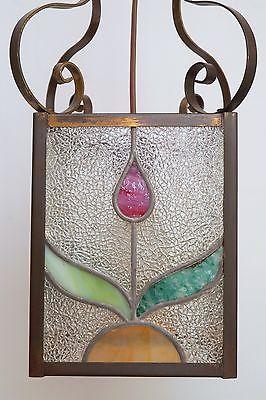 Wunderschöne original Jugendstil Deckenleuchte Flurlampe Bleiverglasung 1900 3