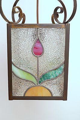 Wunderschöne original Jugendstil Deckenleuchte Flurlampe Bleiverglasung 1900 5